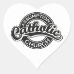 Negro de la iglesia católica de la suposición pegatina en forma de corazón
