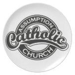 Negro de la iglesia católica de la suposición platos para fiestas