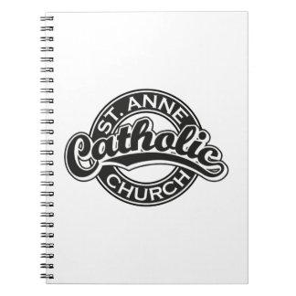 Negro de la iglesia católica de ST ANNE Libreta Espiral