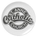 Negro de la iglesia católica de ST ANNE Platos Para Fiestas