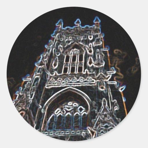 Negro de la iglesia de monasterio de York Pegatinas Redondas