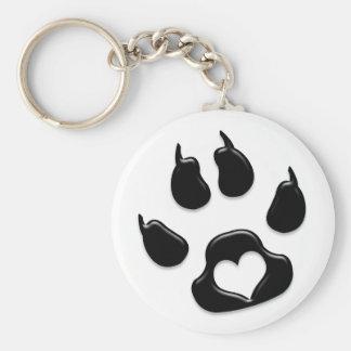 Negro de la impresión de la pata del gato llavero redondo tipo pin