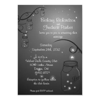 Negro de la invitación del boda de la luciérnaga