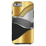 Negro de la malla de la plata del oro del coche de funda de iPhone 6 tough