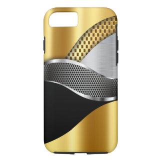 Negro de la malla de la plata del oro del coche de funda iPhone 7