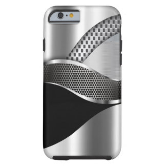 Negro de la malla de la plata metalizada del coche funda para iPhone 6 tough