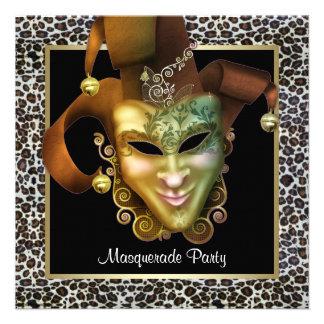 Negro de la máscara del leopardo y fiesta de la ma invitaciones personales