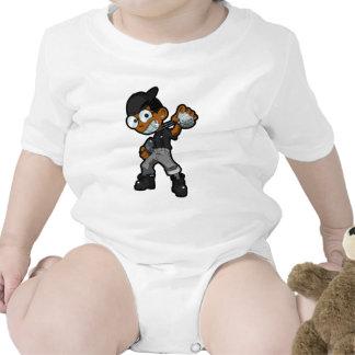 Negro de la mascota de HoodNerd Traje De Bebé