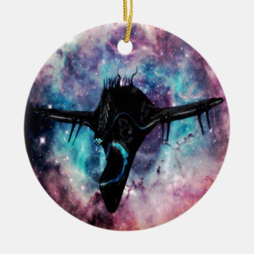 negro de la nave espacial adornos de navidad