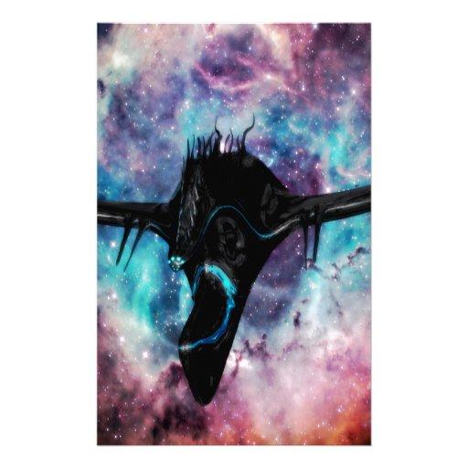 negro de la nave espacial papelería personalizada