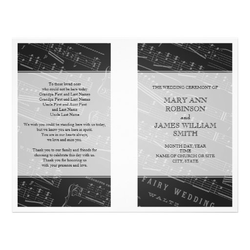 Negro de la partitura del programa del boda tarjetones