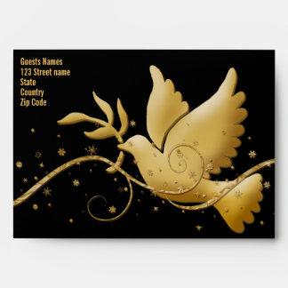 Negro de la paz de la paloma, rojo y plantilla del sobres