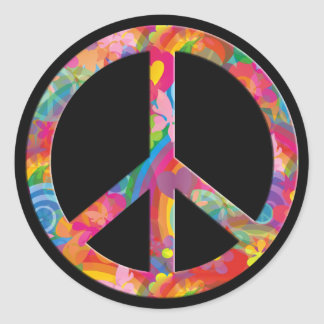 Negro de la paz el | del flower power etiqueta redonda