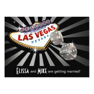 Negro de la plata del boda de Las Vegas Starburst Invitación 12,7 X 17,8 Cm