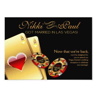 Negro de la recepción el | de Las Vegas VIP Invitación 12,7 X 17,8 Cm