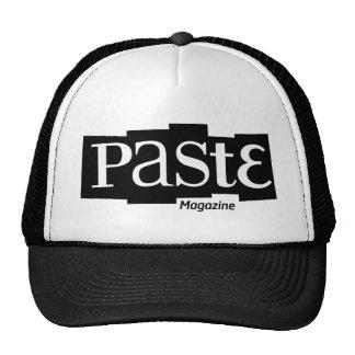 Negro de la revista del logotipo del bloque de la  gorras