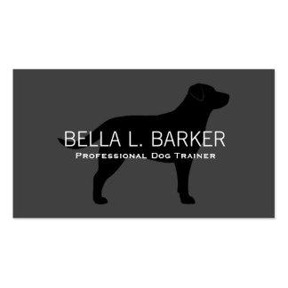 Negro de la silueta del labrador retriever en gris tarjetas de visita