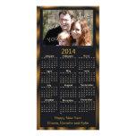 Negro de la tarjeta del calendario de la foto 2014 tarjeta fotográfica