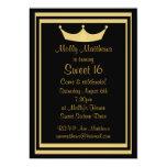 Negro de la tiara del dulce 16 y personalizable invitación 12,7 x 17,8 cm