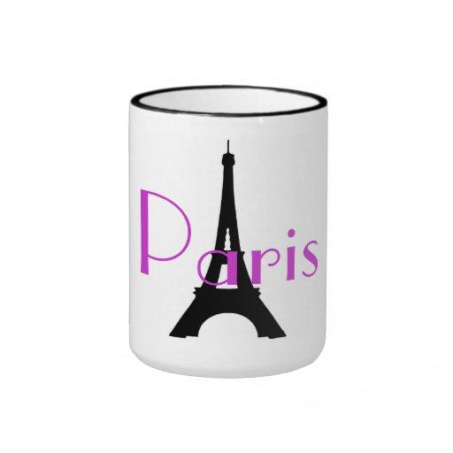 Negro de la torre Eiffel de París Francia taza del