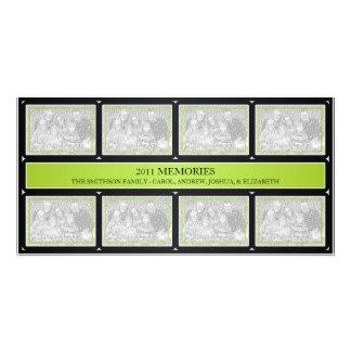 Negro de la verde lima del collage del Año Nuevo d Tarjetas Fotográficas Personalizadas
