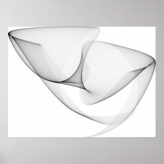 Negro de las curvas de seno del arte de Op. Sys. s Poster