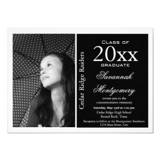 """Negro de las invitaciones de la graduación de invitación 4.5"""" x 6.25"""""""