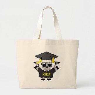 Negro de las ovejas del chica y graduado 2011 del  bolsa tela grande