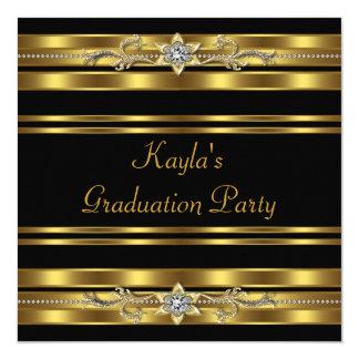 Negro de los chicas y fiesta de graduación del oro invitación 13,3 cm x 13,3cm
