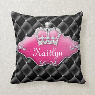 Negro de los diamantes de princesa Crown Pillow Cojín