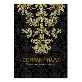 Negro de los diamantes y damascos florales 2 del m tarjeta de negocio