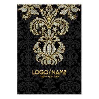 Negro de los diamantes y damascos florales del tarjetas de visita grandes