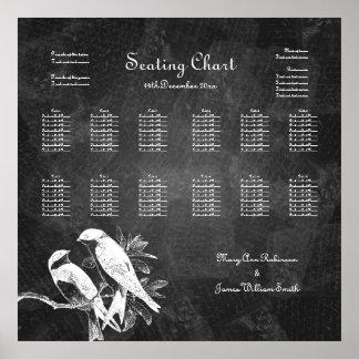 Negro de los pájaros del amor de la carta del asie poster