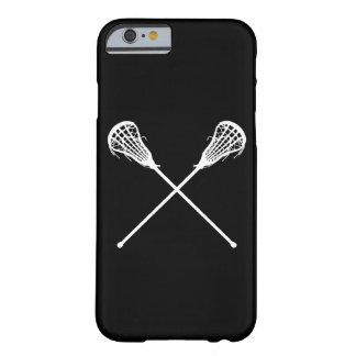 negro de los palillos de LaCrosse del caso del Funda Para iPhone 6 Barely There