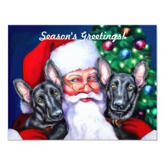 Negro de los perros de pastor alemán de Santas Invitaciones Personales