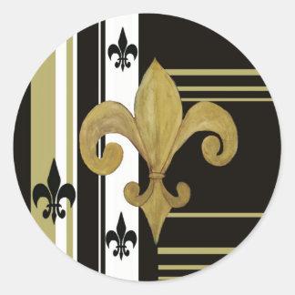 Negro de los santos y flor de lis del oro pegatina redonda