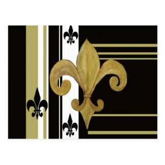Negro de los santos y flor de lis del oro tarjeta postal