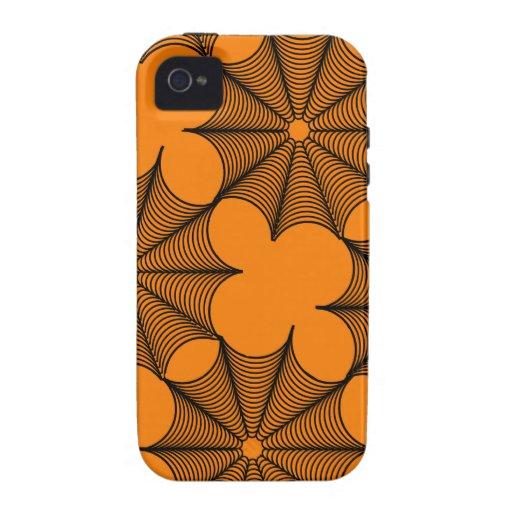 Negro de los Web de araña en la decoración anaranj Case-Mate iPhone 4 Funda
