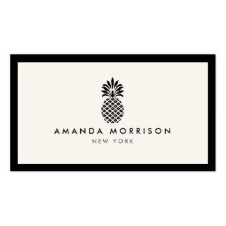 Negro de lujo/marfil del boutique de la piña tarjetas de visita