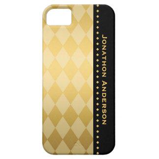 Negro de lujo y oro Argyle masculino Funda Para iPhone 5 Barely There