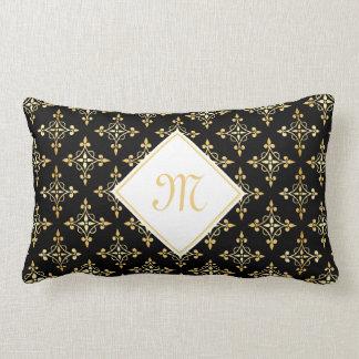 Negro de lujo y oro Quatre del monograma floral Cojín