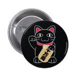 Negro de Maneki Neko Pin Redondo 5 Cm