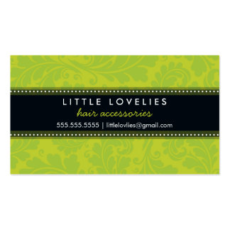 Negro de moda de la verde lima del flourish de la  tarjeta de visita