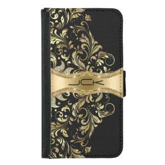 Negro de Monogramed y cordón del brillo del oro