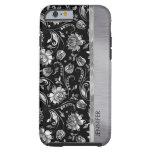 Negro de Monogramed y damascos florales de la Funda De iPhone 6 Tough