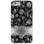 Negro de Monogramed y damascos florales de la Funda De iPhone 6 Plus Tough