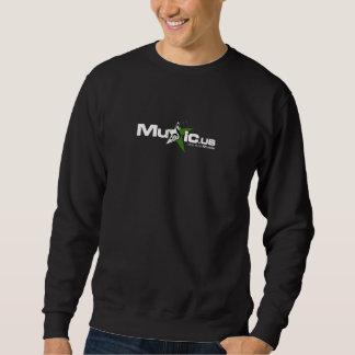 Negro de Music.us sudado - logotipo verde blanco Sudaderas Encapuchadas