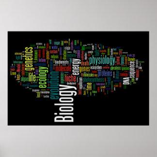Negro de no. 5 de Wordle de la biología Póster