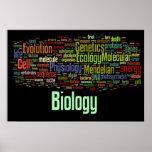 Negro de no. 8 de Wordle de la biología Póster