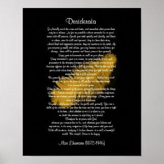 Negro de oro de la pluma de las cosas de los desid póster